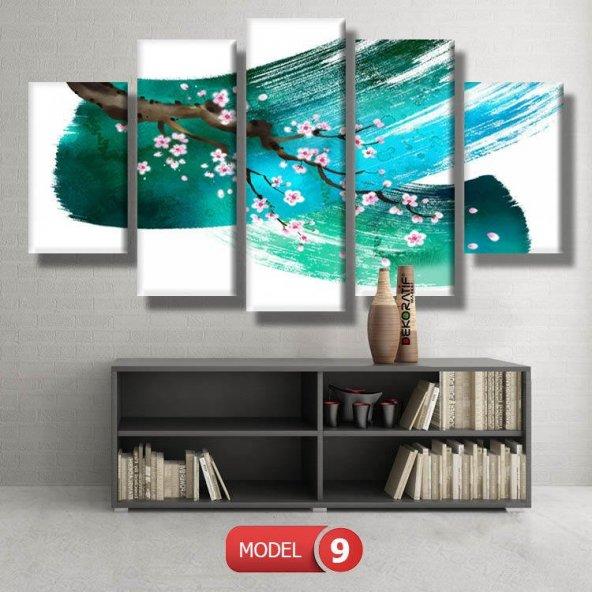 5 parçalı-turkuaz fırça darbeli dal  tablosu MODEL 9 - 162x75 cm