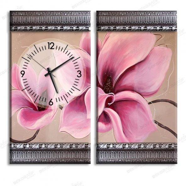 5 cm Kabartma Çerçeveli Saatli Tablo - Pembe Çiçekli Tablo 2 Adet 80x50 cm