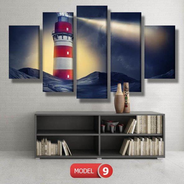 5 parçalı-deniz feneri   tablosu MODEL 15 - 96x90 cm