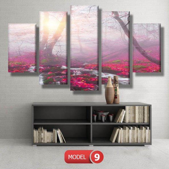 5 parçalı-fuşya orman tablosu MODEL 14 - 123x60 cm