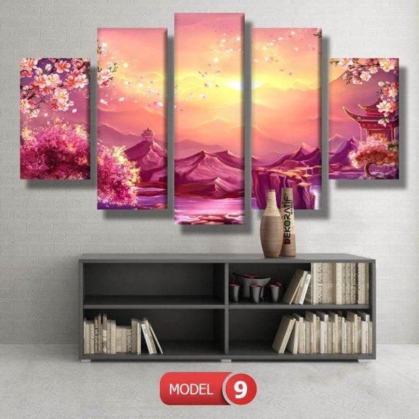 5 parçalı-japon bahçesi tablosu MODEL 14 - 123x60 cm