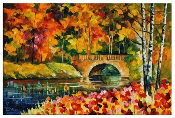 Nehirde Köprü Yağlıboya Reproduksiyon Yatay Kanvas Tablo 60 cm x 120 cm