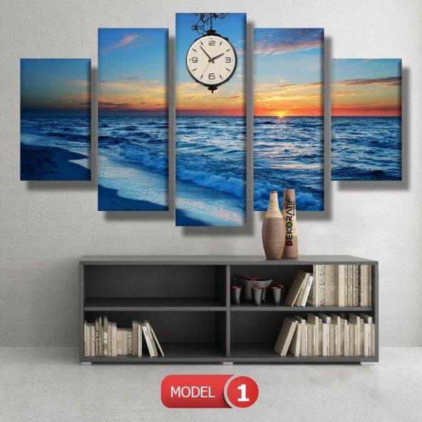 5 parçalı-deniz manzarası Saatli Kanvas Tablo Modelleri MODEL 5 - 103x70 cm