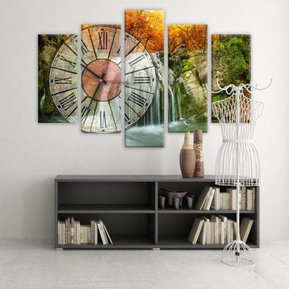 Dekoratif Market 5 Parçalı Saatli Kanvas Tablolar -Saatli Şelale Manzara Tabloları BÜYÜK BOY