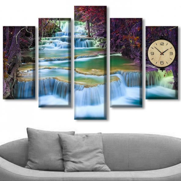 Dekoratif Market 5 Parçalı Saatli Kanvas Tablolar -Saatli Şelale Manzara Tabloları