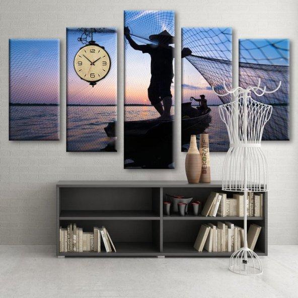 Dekoratif Market 5 Parçalı Saatli Kanvas Tablolar -Saatli Tekne Kayık Gemi Manzara Tabloları BÜYÜK BOY