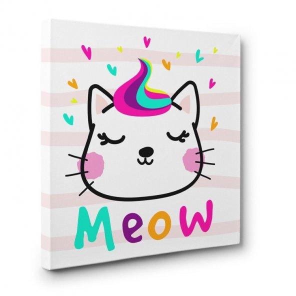 çocuk odası için led ışıklı kedicik tablosu