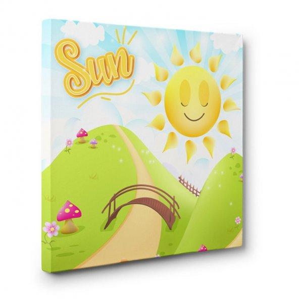 çocuk odası için led ışıklı güneş tablosu 70 cm x 70 cm