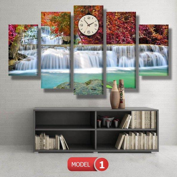 5 parçalı-pembe çiçekli şelale  Saatli Kanvas Tablo Modelleri MODEL 4 - 96x90 cm
