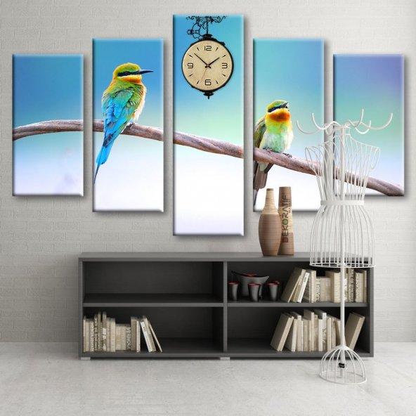 Dekoratif Market 5 Parçalı Saatli Kanvas Tablolar - Kuş Tablosu
