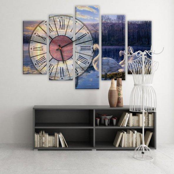 Dekoratif Market 5 Parçalı Saatli Kanvas Tablolar - Kuğu Tablosu BÜYÜK BOY
