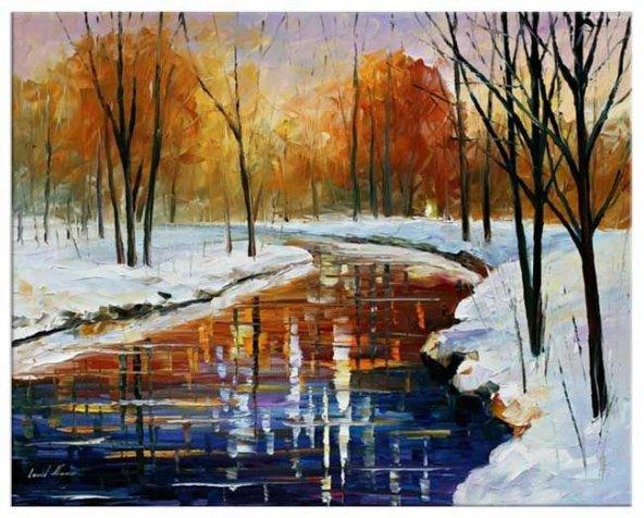 Kışın Nehir Yağlıboya Reproduksiyon Yatay Kanvas Tablo 50 x 100 cm