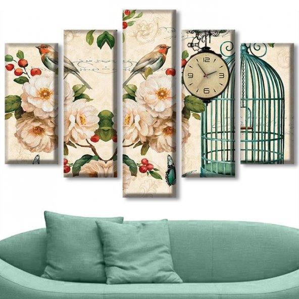 Dekoratif Market 5 Parçalı Saatli Kanvas Tablolar - Kuş Tablosu ORTA BOY