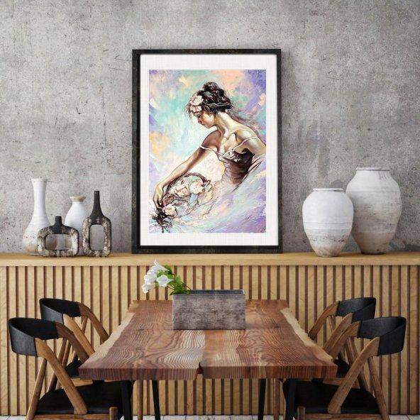 CERCEVELI-TABLO-CICEKLI-KADIN 70 cm x 100 cm