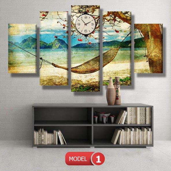 sahilde hamak saatli  Kanvas Tablo Modelleri MODEL 2 - 129x75 cm
