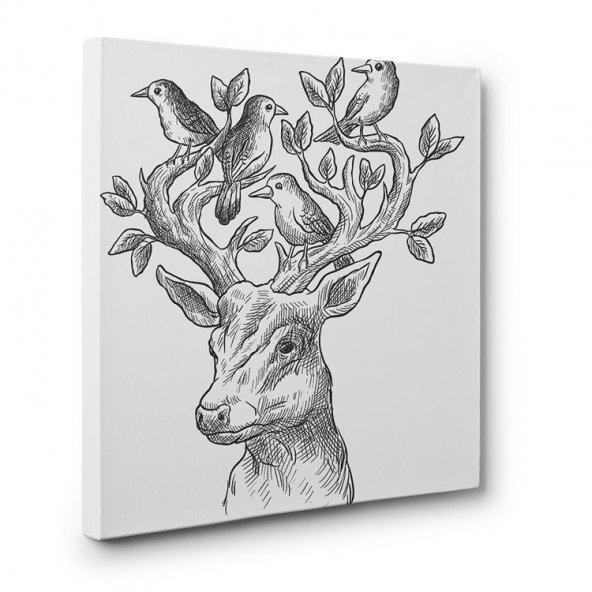 bebek odası için led ışıklı geyik tablosu 80 cm x 80 cm