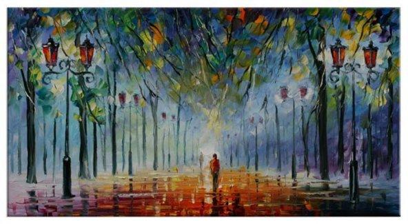 Akşam Tek Sokak Yağlıboya Reproduksiyon Yatay Kanvas Tablo 100 x 200 cm