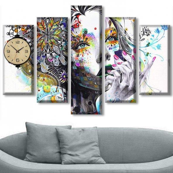 Dekoratif Market 5 Parçalı Saatli Kanvas Tablolar - İnsan Figürlü Tablosu