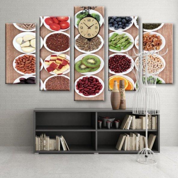 Dekoratif Market 5 Parçalı Saatli Kanvas Tablolar - Mutfak Tabloları ORTA BOY