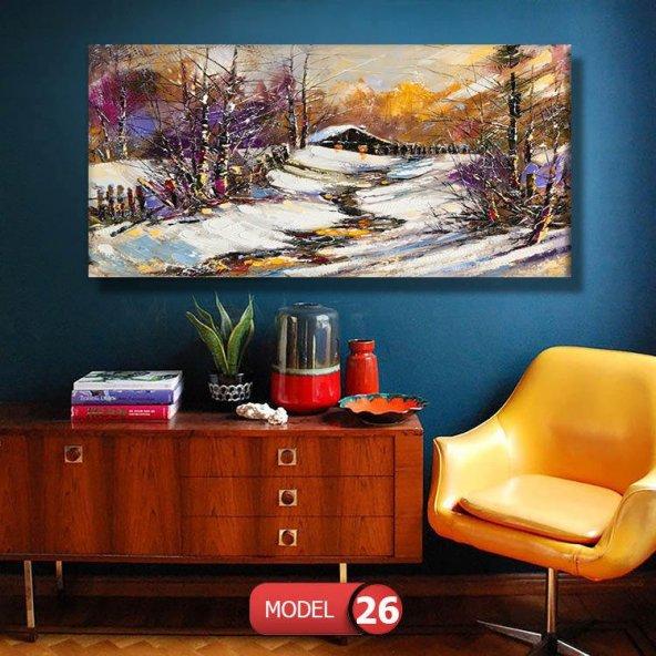 karlı ev resimli  Duvar Tablosu 80 x 125 cm