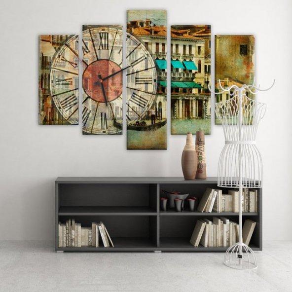 Dekoratif Market 5 Parçalı Saatli Kanvas Tablolar - Retro Tablo BÜYÜK BOY