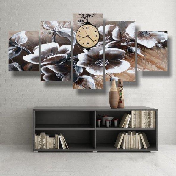kahve çiçekli-5 parçalı  saatli kanvas tablo KÜÇÜK BOY