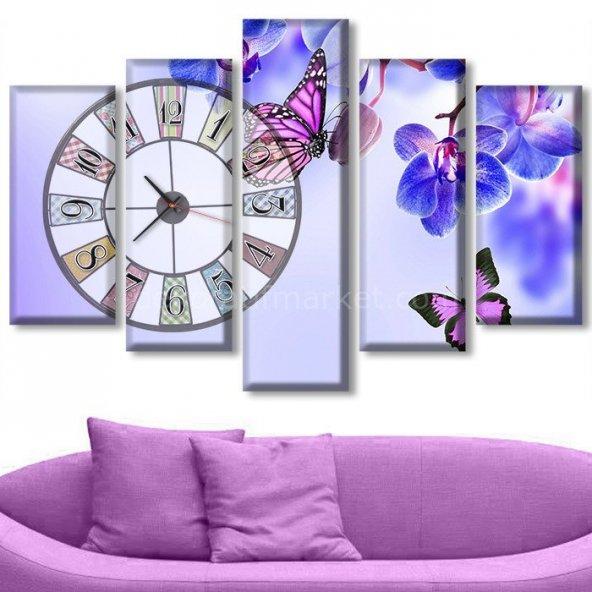 Çiçekli Tablolar - Saatli Tablo ORTA BOY