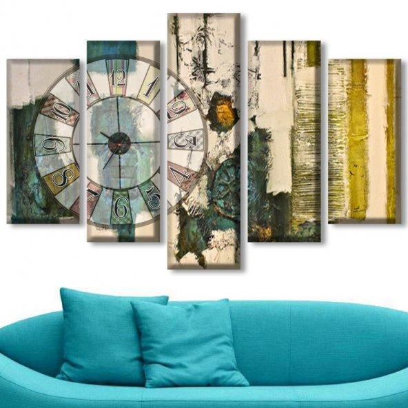 Dekoratif Market 5 Parçalı Saatli Kanvas Tablolar - Soyut Tablo BÜYÜK BOY
