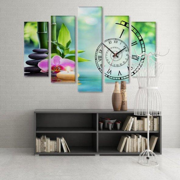 Dekoratif Market 5 Parçalı Saatli Kanvas Tablolar - SPA Otel Duvar Tabloları KÜÇÜK BOY