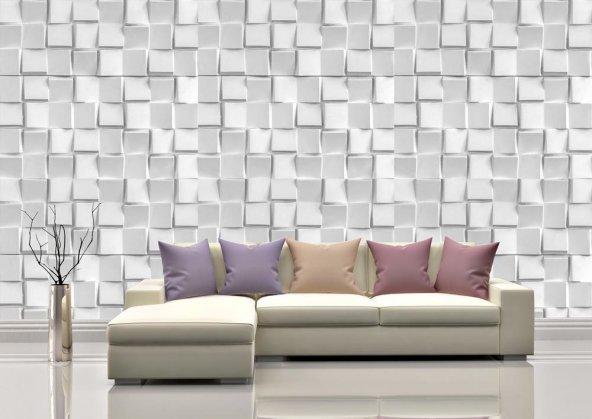Gri Renk Küpler Duvar Kağıdı - Seçenekli Ürün 600x300 cm