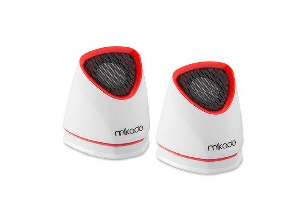 Mikado MD-158 2.0 Beyaz/Kırmızı USB Speaker