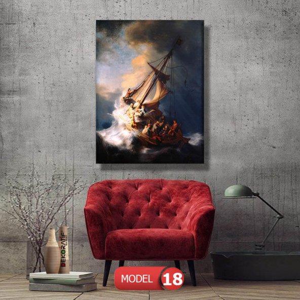 yelkenli ve insanlar tablosu 125x80 cm