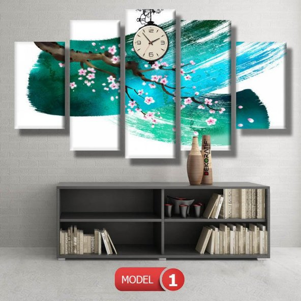 Turkuaz Fırça Darbeli Saatli Kanvas Tablo Modelleri MODEL 5 - 103x70 cm