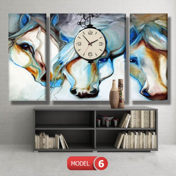 mavi beyaz atlar saatli tablo