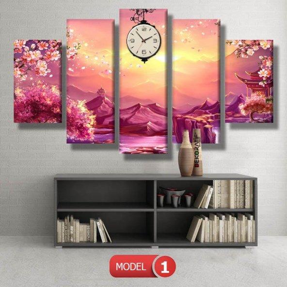 Pembe Dağ Manzara Saatli Kanvas Tablo Modelleri MODEL 3 - 126x60 cm