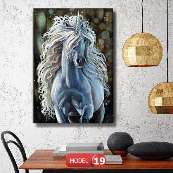 boynuzlu beyaz at tabloları 60x40 cm