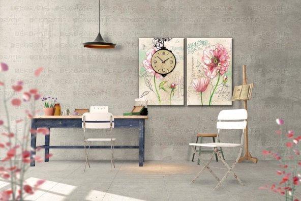 2 Parçalı Saatli Tablo Set - Çiçek Tabloları 40x60 cm İkili Takım