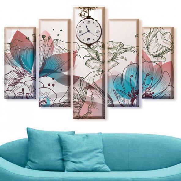 5 Parçalı Saatli Kanvas Tablolar - Turkuaz Renkte Çiçekli Tablolar BÜYÜK BOY