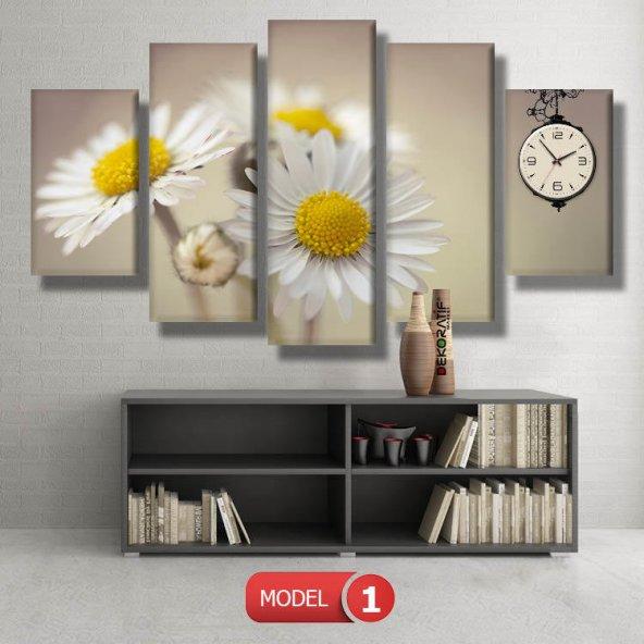 Papatya Saatli Kanvas Tablo Modelleri MODEL 7 - 162x75 cm