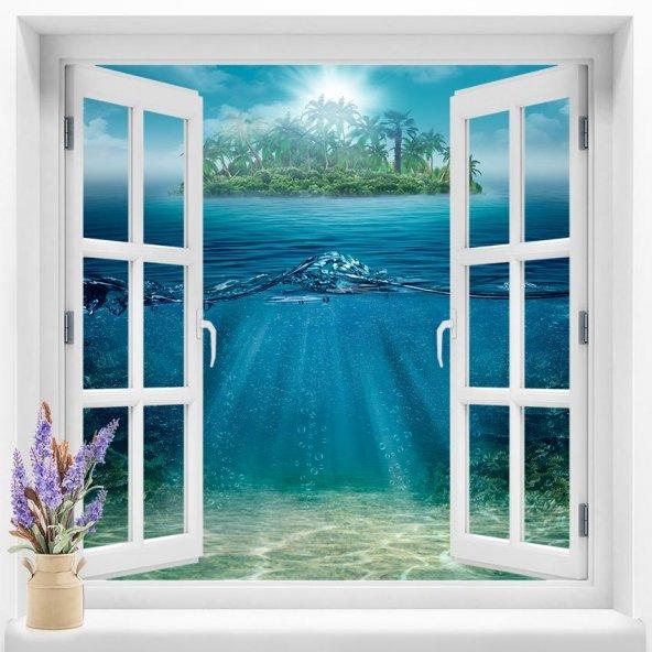 Pencere Duvar Folyoları 120x120  cm 3 Boyutlu Resimli Pencere Duvar Folyosu