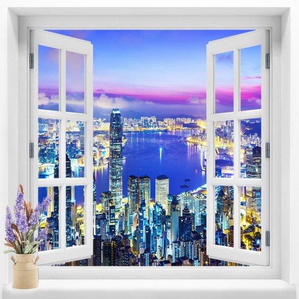 Pencere Duvar Folyoları  120x120  cm Şehir Manzara  Duvar Folyosu