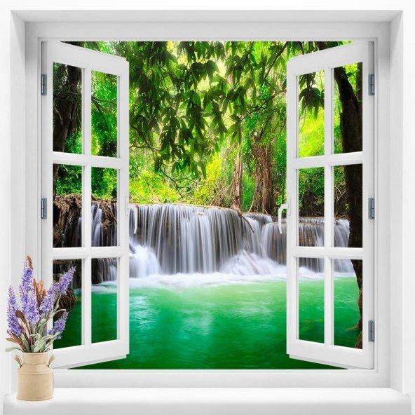 Pencere Duvar Folyoları  120x120  cm Şelale  Manzarası Duvar Folyosu