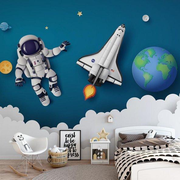 Çocuk Odası Duvar Kağıdı - Uzay Astronot - Seçenekli Ürün