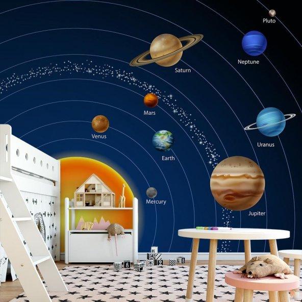 Çocuk Odası Duvar Kağıdı - Güneş Sistemi - Seçenekli Ürün 500x300 cm