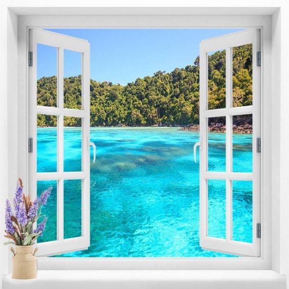 Pencere Duvar Folyoları  120x120 cm Deniz Manzara Duvar Folyosu