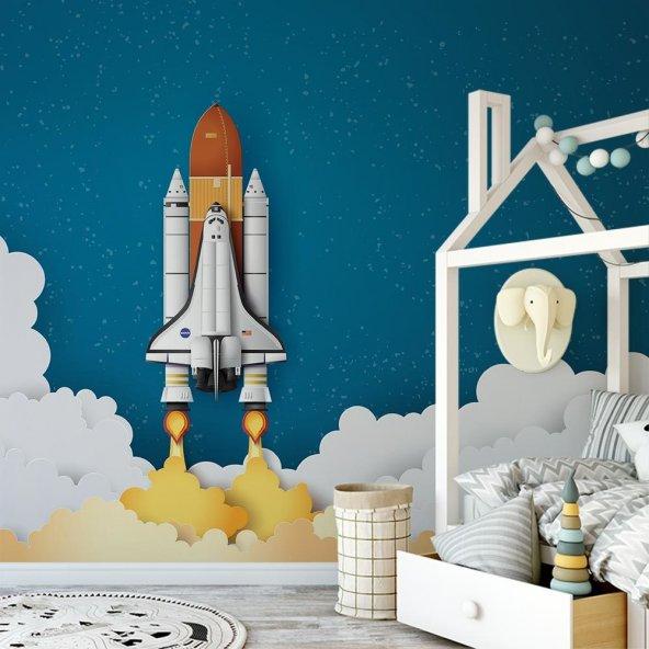 Çocuk Odası Duvar Kağıdı - Roket - Seçenekli Ürün 300x150 cm