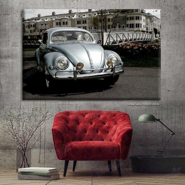 Gümüş Gri Vosvos Araba Led Işıklı Tablo 80 x 125 cm