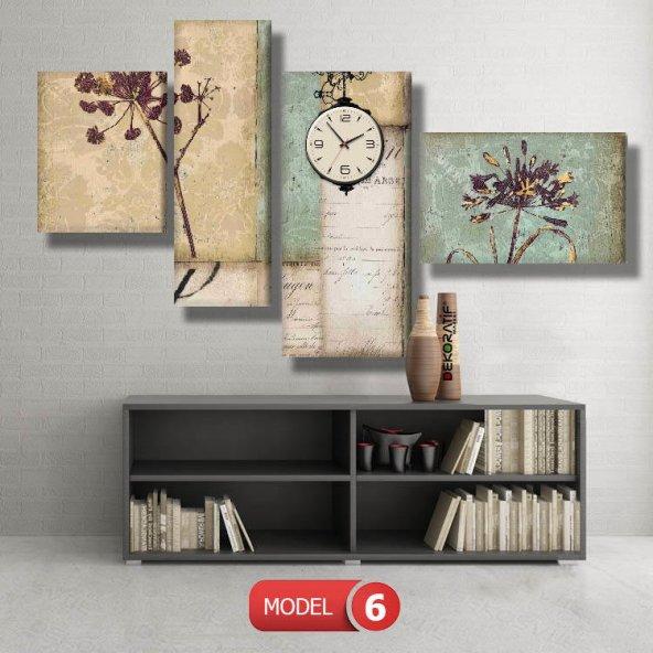 modern çiçekli tablo saat modelleri MODEL 2 - 129x75 cm