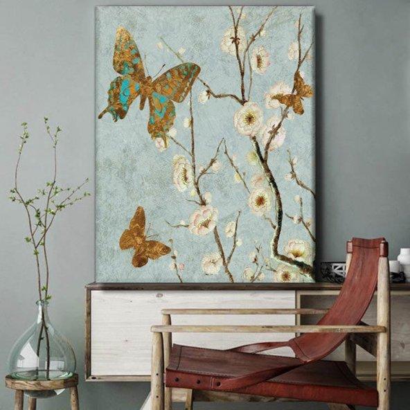 retro kahverengi kelebekli-dikey  kanvas tablo 100x70 cm