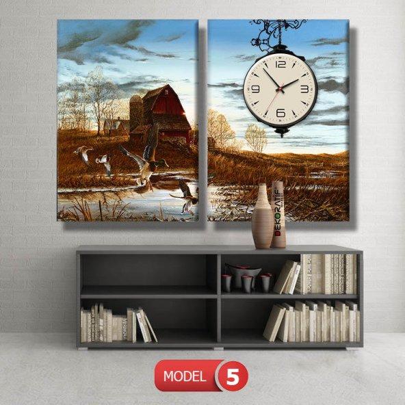 ördek ve sazlık tablo saat modelleri MODEL 8 - 123x60 cm